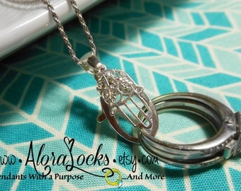 Scrolled Hamsa  Wedding Ring & Charm Holding Pendant - Sterling Silver