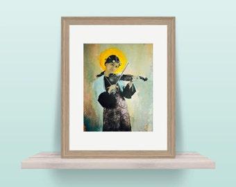 Saint Cecilia - Catholic Mixed Media Painting - Archival 8x10 Print