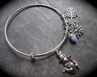 Snowman and Snowflake bracelet Holiday Collection adjustable wire bangle bracelet Winter charm bracelet Christmas