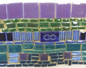 120+ Handmade Mosaic Tile Pieces Ceramic Stoneware  Blue, Green, Teal,  Purple Assortment