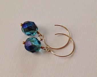 Blue Czech Glass Earrings in Gold -Blue Faceted Glass Earrings in Gold