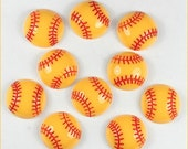 ON SALE 10pcs Yellow Baseball Softball Sports Resin Cabochons Flatbacks Flat Back Girl Hair Bow Center Crafts Embellishments DIY