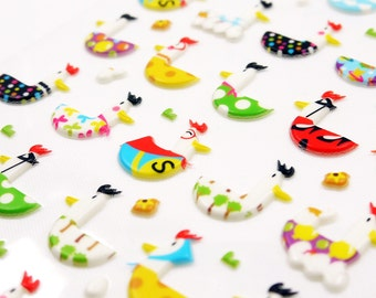 Hen and Duck - Funny Sticker World - 3D PVC embossed deco puffy sticker - 1 Sheet