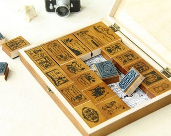 Retro Wooden Rubber Stamp Box Set - 22 Psc