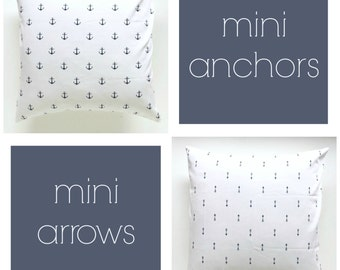 NEW! Navy Blue Mini's Collection. Pillow Covers. Decorative Pillow. Mini Anchors. Mini Arrows. Navy Throw Pillow Cover.