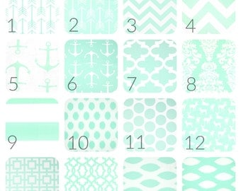 Mint Green Curtain Panels. 25 or 50 Widths. 63, 84, 96, 108, 120 Lengths. Chevron, Moroccan, Dots, Anchors, Arrows. Window Treatments.
