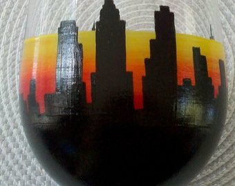 New York City Skyline hand painted wine glass