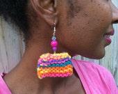 Neon Knit Retangular Earrings