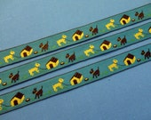 """Vintage  Trim - Turquoise Blue 7/8"""" wide cotton machine embroidered, Repeating pattern of two dogs and dog house, yellow and brown"""