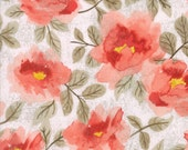 Coral Floral Fabric - Saturday Morning by Basicgrey from Moda - 1/2 Yard
