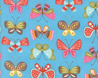 Colorful Butterfly Fabric in Blue - Wing & Leaf by Gina Martin from Moda - Fat Quarter