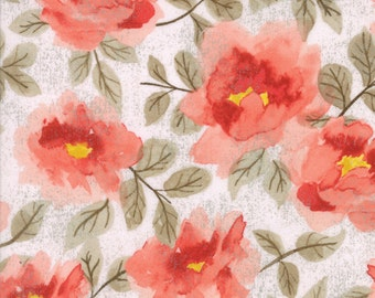 Coral Floral Fabric - Saturday Morning by Basicgrey from Moda - 1 Yard