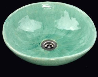 Exotic turquoise sink, unusual washstand, original washbasin