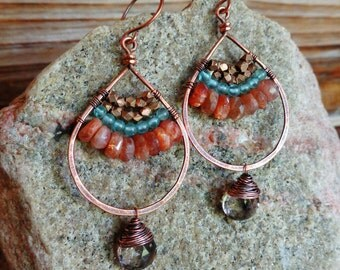 Traveler. Artisan Copper Earrings with Wire Wrapped Peach Sunstone, Smoky Quartz, Golden Brass, and Aquamarine-Gypsy Tribal Boho Chic Rustic