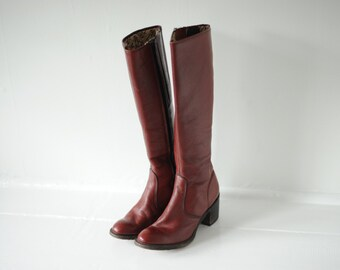 Vintage Miss Capezio Burgundy Leather Campus Boots, Made in USA, Womens 6 / ITEM151