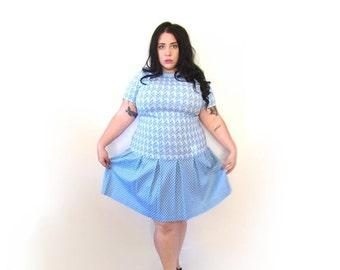 l SALE l Plus Size Vintage Dress l 1960's Baby Blue Drop Waist Dress l Size XL l Vintage Dress