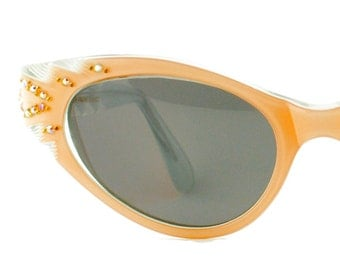 Vintage Peach Etched Sunglasses w/Grey Lenses Rhinestone Eyeglass Frames Eyewear
