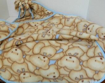 Baby Blanket - Toddler Floor Throw - Car Seat Wrap - Tan & Blue Teddy Bears - Handmade Fleece Throw - Baby Shower Gift - Tummy Time Blanket