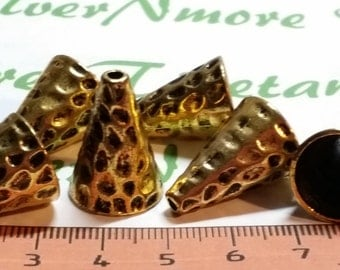 6 pcs per pack 21x14mm 13mm opening Large Cone Antique Gold Lead Free Pewter