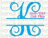 SVG DXF Split Letter Monogram Cut Files - 26 Upper Case Letters