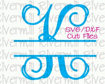 SVG DXF Split Letter Monogram Cut Files - 26 Upper Case Letters