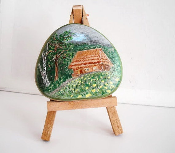 Hand Painted Stone. inspirational forest house. River rock Artwork Home Garden Decor. 3D animal