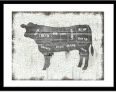 Beef Butchers Chart Art Print, Chefs Wall Decor, Rustic, Distressed Cow, Steer, Cattle, Farmhouse wall art