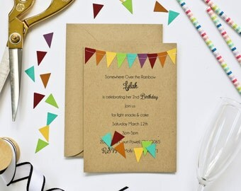 Rainbow Party Invitations, Birthday Party Invites, Kraft Paper Cards, Bunting Flag, Colorful First Birthday Invitations, Rainbow Stationery