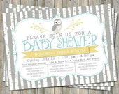 Birch tree owl baby shower invitation, typography baby shower invitation, aqua and yellow, digital, printable file