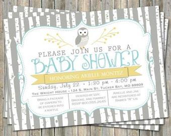 Birch tree owl baby shower invitation, typography baby shower invitation, aqua and yellow, digital, printable file