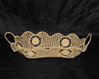 Vintage Handwoven Straw Bread Basket Oval Shape With Handles Side Circle Designs
