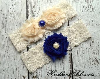 Beautiful Bridal Garter Set - CREAM ROYAL Keepsake & Toss Wedding Garters - Chiffon Flower Rhinestone Garters - Garders - Something Blue
