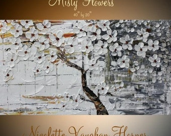 "Sale Original abstract gallery canvas palette knife floral painting  ""Misty Flowers""  by Nicolette Vaughan Horner"