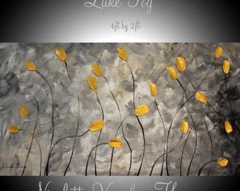 "XL Oil textured painting Abstract Original Modern 48""""Lake Fog"" palette knife impasto oil painting by Nicolette Vaughan Horner"