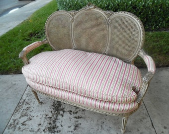 on sale PRETTY PARIS PERCH / Louis Settee / Loveseat / Triple Oval Cane Back / Down Filled / Ribbons And Quiver