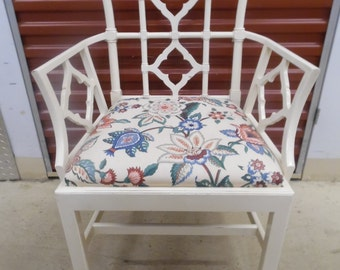 ASIAN FLAIR CHAIR / Single Solid Wood Upholstered Pagoda Chair / Clean Upholstery / Chinoiserie Chic