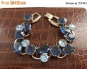 Now On Sale Vintage Juliana Rhinestone Bracelet 1960's DeLizza & Elster Collectible Jewelry Blue Mad Men Mod High End Collectible Vintage Je