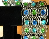 NOW ON SALE Classy Vintage Rhinestone Bracelet Earring Set Wide Chunky Aqua Blue Green Demi Parure 1950s 1960s Hollywood Regency Jewelry
