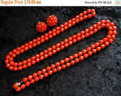 NOW ON SALE High End Vintage Red Glass Long Flapper Length Necklace Earring Set 1950s Collectible Mid Century Old Hollywood Glam Jewelry