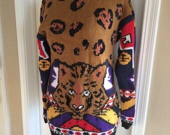 Vintage sweater animal cheetah spirit animal small long