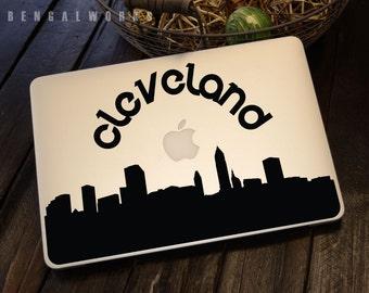 Cleveland Skyline Macbook Decal 2   Macbook Sticker   Laptop Decal   Laptop Sticker   Car Sticker