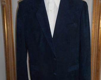 Vintage 1970's Princeton Navy Blue Faux Suede Sportcoat - Size 44