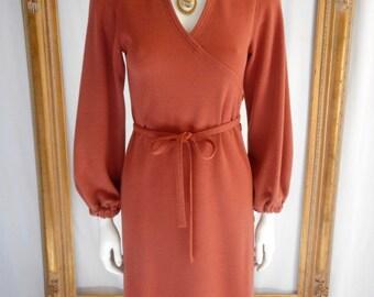 Vintage 1970's Albert Nipon Wool Knit Dress - Size 2