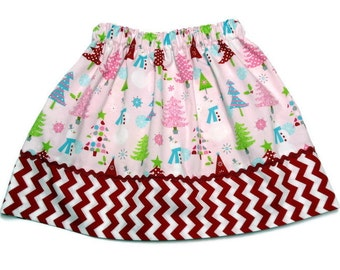 Girls Christmas Skirt Pink Snowman Christmas Tree Red White Chevron Size 6-12 month, 12-18 month, 2 /3, 4 / 5, 6 / 7, 8 / 9