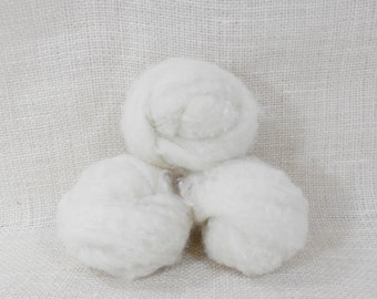 Needle felting wool batting in White, wool batting, felting supplies, fleece batting in White, ecru wool, wool for spinning,