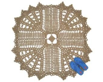 Square Jute Cross Rug - Crochet Doily Rug - Christian Decor - Inspirational Round Carpet - Primitive Jute Floor Covering - Religious Decor