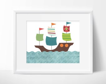 Pirate ship - Nursery, children's or bathroom artwork, boat, ship, pirate, ocean, nautical, print, blue, brown, green, orange, red