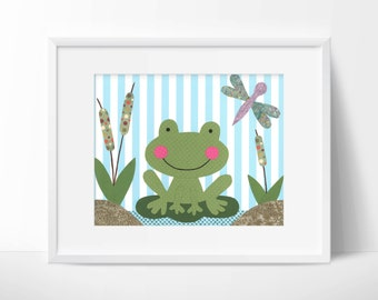 Ribbit Ribbit - Nursery, children's or bathroom artwork, frog, pond, dragonfly, blue, personalize with a name