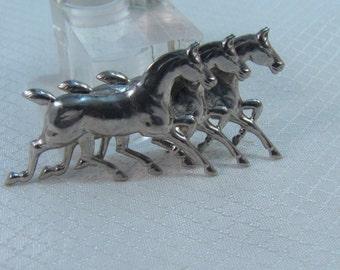 Running Horses Sterling Brooch