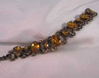 Vintage Citrine Colored Rhinestone Fleur-De-Lis Link Bracelet C1960's